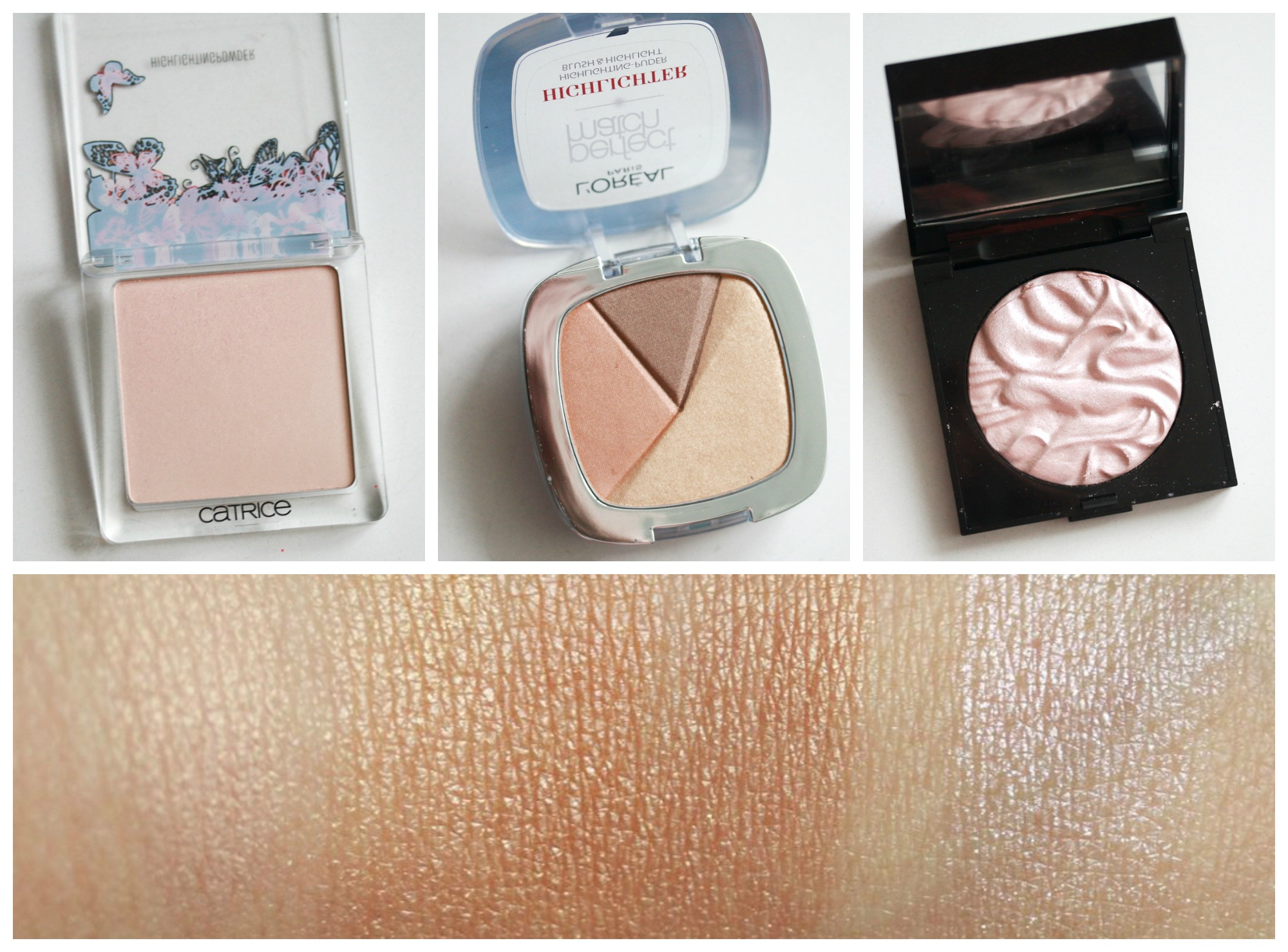 Catrice – Enter Wonderland LE Highlighting Powder – C01 Fairy Dust L'ORÉAL – perfect match Highlighting Powder – 102W Golden Glow laura mercier – Face Illuminator – Devotion